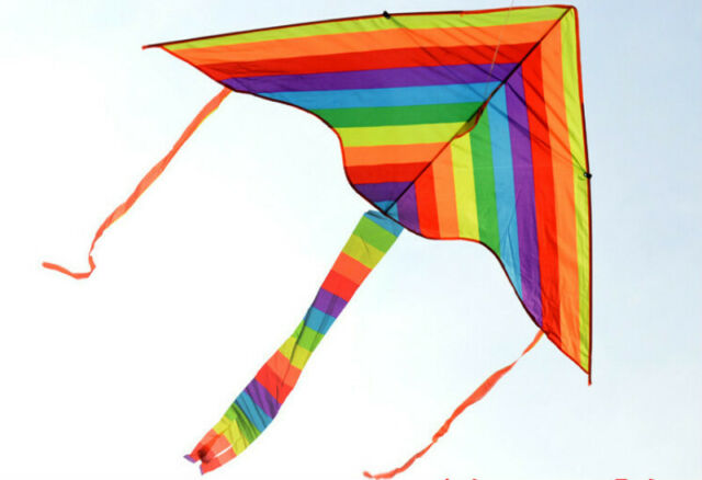 1m Rainbow Delta Kite Outdoor Sports For Kids Toys Easy To Fly For