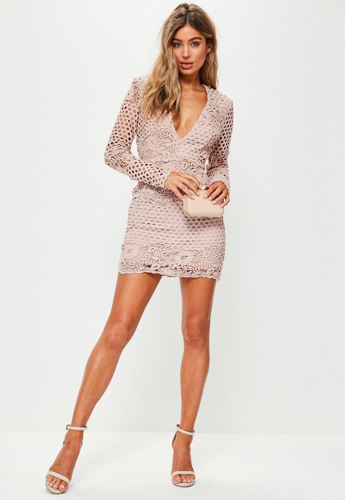 fba3efa4892 ... Missguided Plunge Lace Long Sleeve Bodycon Dress Dress Dress Size 8  BNWT RRP .99 Pink