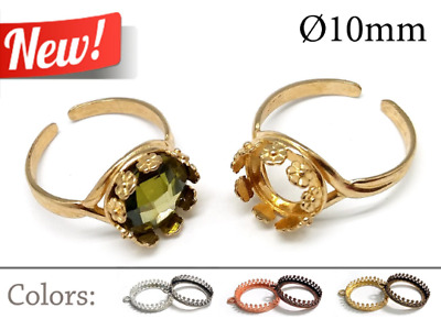 JBB Hearts Bezel Cup 1pc Brass Adjustable Ring 12mm Cabochon Setting