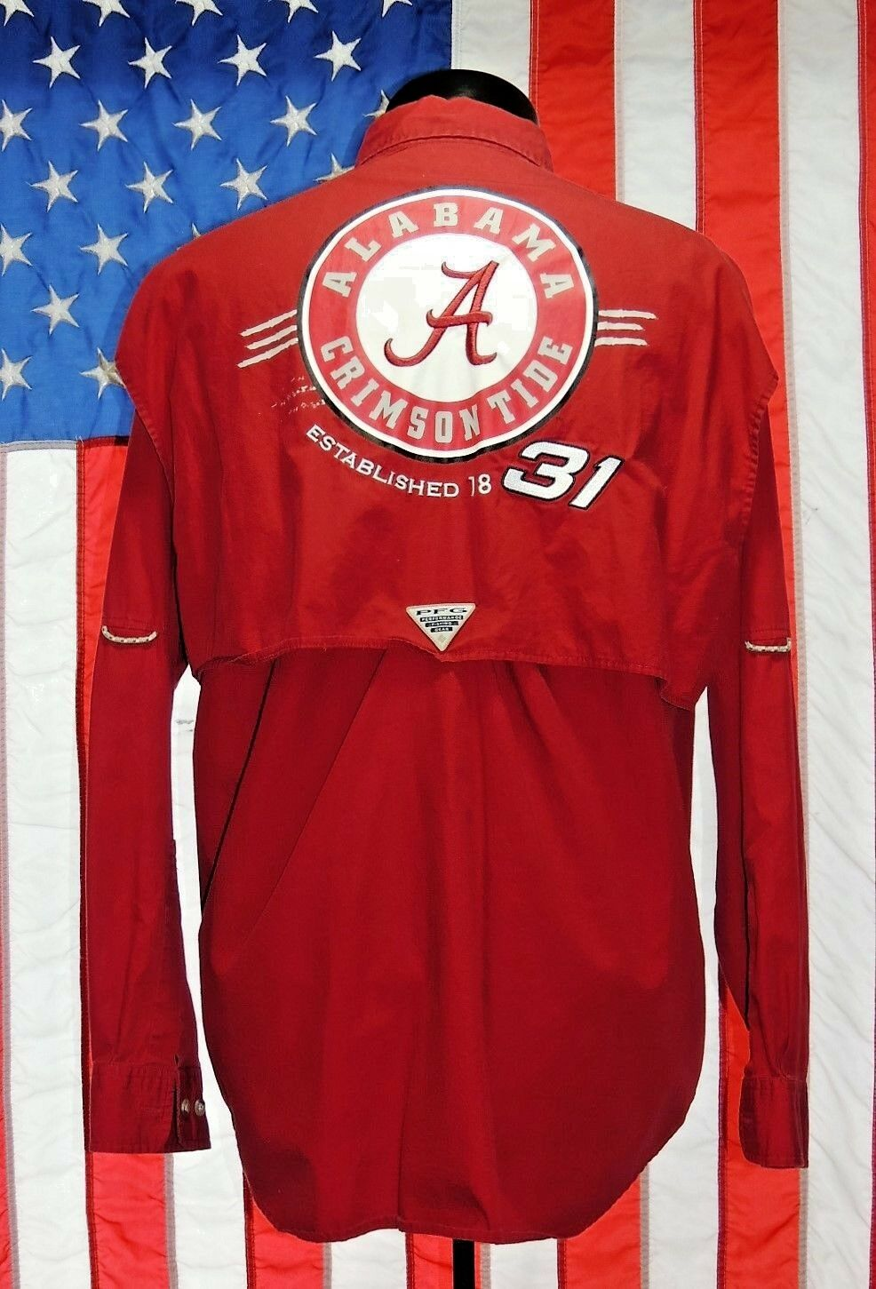 Men Med Columbia PFG Alabama Crimson Roll Tide Fishing Nascar Shirt 31 Newman