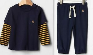 Soft Pants Navy Yellow Playtime 100/% Cotton 12-18 GAP Baby Boy Long Sleeve Top