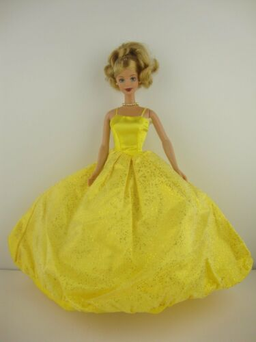 Bright Yellow Gown Covered in Glitter Made to Fit Barbie Doll
