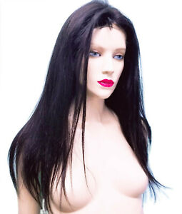 Thin-Skin-PU-Wig-Remy-Remi-Indian-Human-Hair-1B-Black-Natural-Straight-Premium