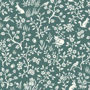 Wallpaper-Designer-Cream-Fox-Hare-Squirrel-Bird-with-Berries-Flowers-on-Teal