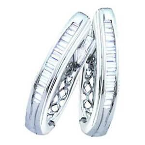 Ladies-White-Gold-Baguette-Cut-Genuine-Diamond-Hoop-Earrings-0-25CT