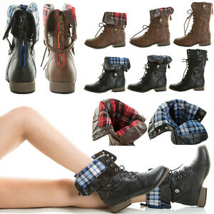 Fold Over Plaid Cuff Contrast Color Zipper Lace Up Flat Military ...