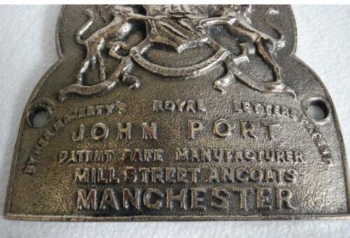 RARE LARGE ANTIQUE HEAVY CAST JOHN PORT MANCHESTER SAFE PLATE 5131 BRASS