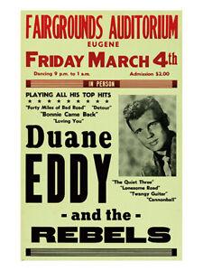 Fifties - Duane Eddy - Fairgrounds Auditorium Concert Poster reprint (1960)