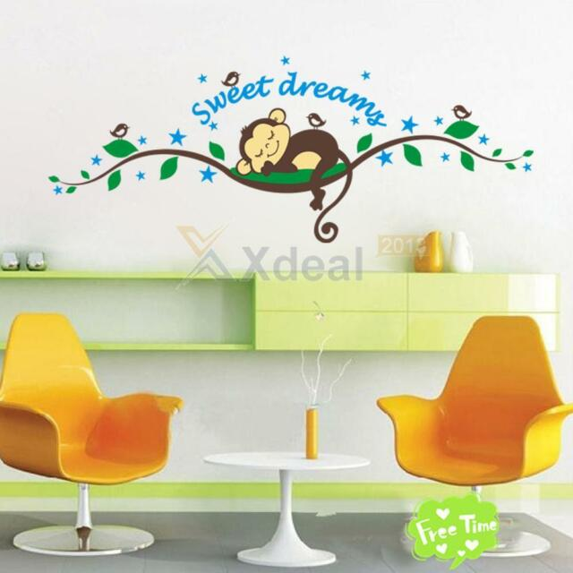 Cheeky Monkey sweet dream Removable Wall Stickers Decal Kid Nursery Baby Decor