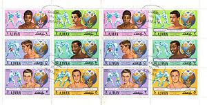 AJMAN-1972-OLYMPIC-GOLD-MEDAL-WINNING-BOXERS-IN-FULL-SHEET-CTO