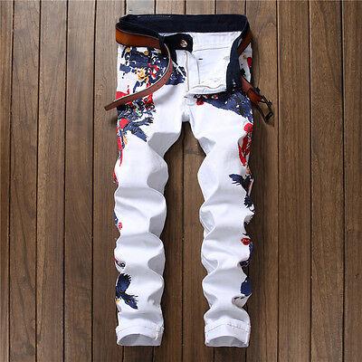 Men's White Slim Straight Denim Stylish Floral Printed Skinny Jeans Casual Pants