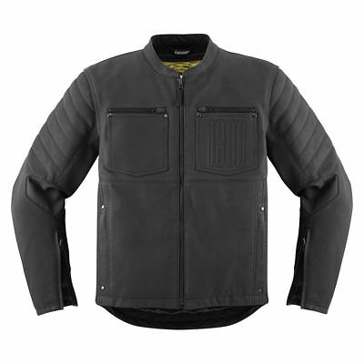 *FAST FREE SHIPPING* ICON 1000 AXYS - BLACK MENS Leather Jacket with D30 Pads