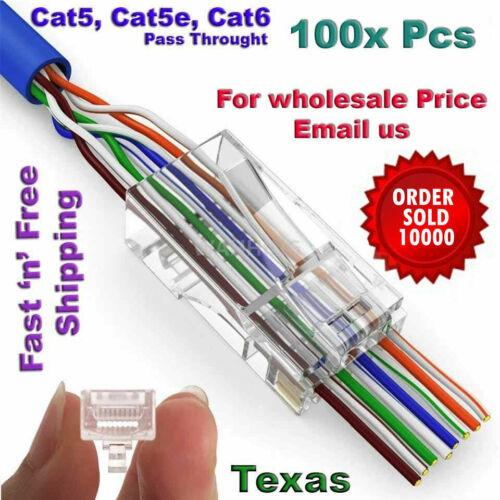 1000pc EZ RJ45 Network Cable Modular 8P8C Connector End Pass Through cat6 cat5e