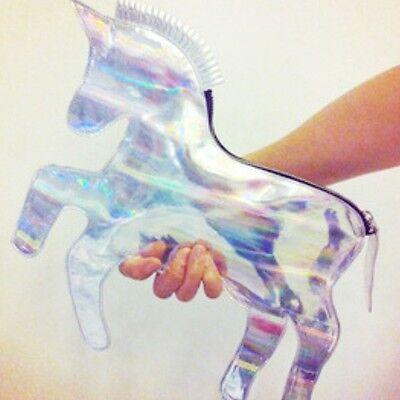 Hologram Einhorn Clutch Unicorn Bag Tasche Regenbogen & Gurt Blogger Trend 2016