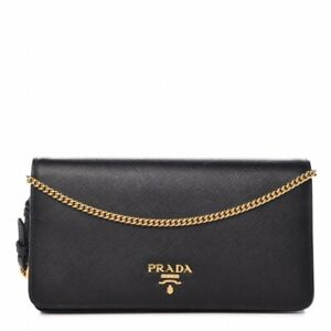 c64a56d516dc Image is loading AUTHENTIC-Prada-Saffiano-Crossbody-Wristlet-Wallet-Bag-On-