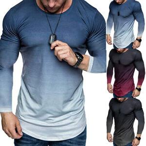 Mens-Gradient-Long-Sleeve-Muscle-Tops-Sport-Casual-Slim-Fit-Blouse-Tee-T-Shirt