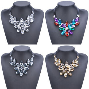 Fashion-Womens-Crystal-Rhinestone-Flower-Pendant-Choker-Statement-Bib-Necklace