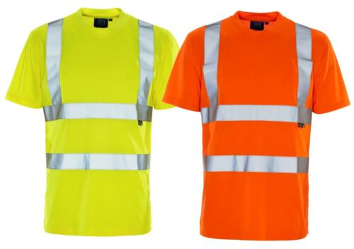 New Mens Hi Vis High Visibility Short Sleeve Bird Eye Crew Neck Work T Shirt
