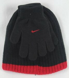 Nike Boys Swoosh Beanie Hat & Gloves 2PC Set Black Red Size 8/20 NWT