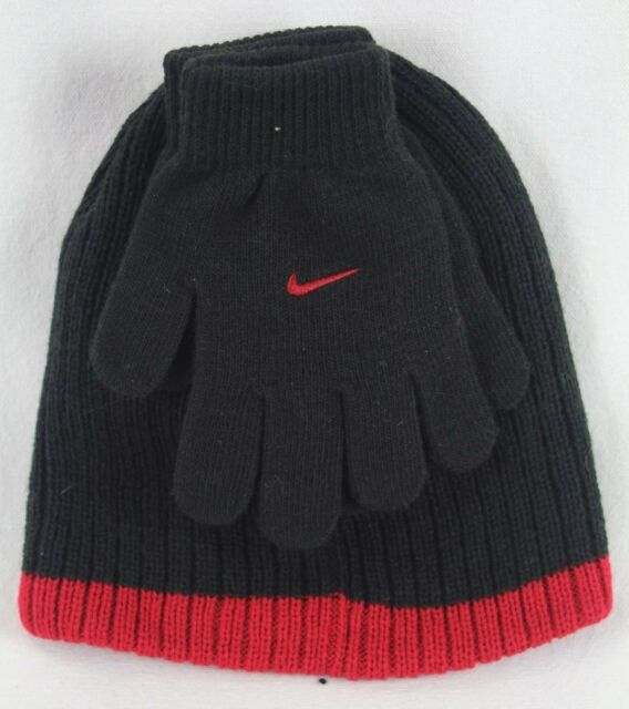 Nike Youth Size 8 20 Knit Beanie Hat and Gloves Set Black red 9a2422 ... 8dfc5b7b09a