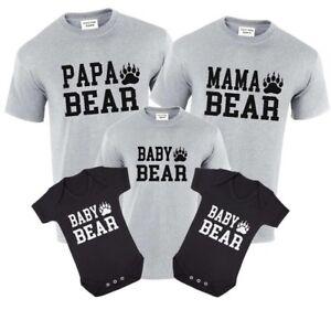 Papa-mama-oso-oso-oso-bebe-Conjunto-de-Regalo-de-Cumpleanos-Camiseta-Prendas-para-el-torso-pata-de