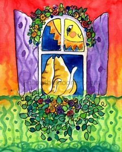 Sunshine-Kitty-Cats-in-The-Flower-Window-Country-Folk-Art-Wall-Art-Print