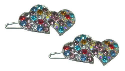 Pair of Small Twin Heart Barrettes Snap Hair Clip Toddlers Young Girls 1930-2