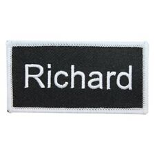 RICHIE  NEW EMBROIDERED  SEW IRON ON NAME PATCH BLUE ON WHITE