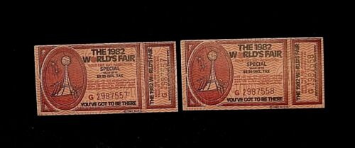 With Stub Attached 2 1982 Worlds/' Fair Special Tickets