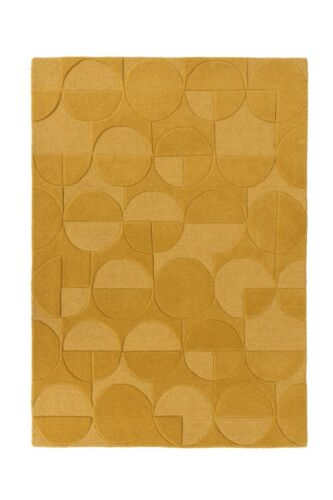 Moderno Gigi ocre amarillo audaz talladas a mano de lana Alfombra Geométrico Varios Tamaños