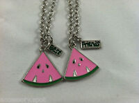 Bff Best Friend Forever Pink Watermellon Slice 2 Pendant 2 Necklace Friendship