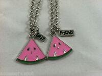 Bff Best Friend Forever Pink Watermellon Slice 2 Pendant 2 Necklace Friendship