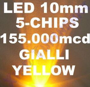 1-LED-Yellow-Yellow-10mm-10-MM-High-Luminosity-210-000mcd-40-Power-100mA-0-5W