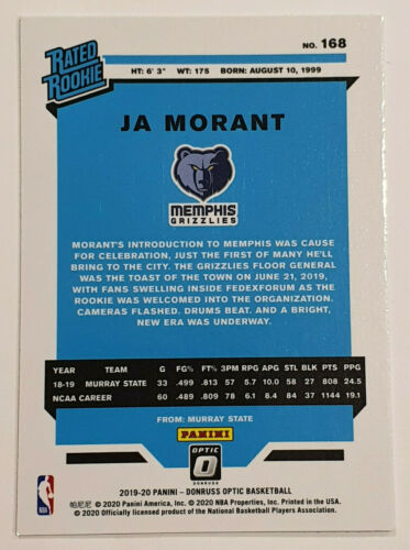 2019-20 Optic Ja Morant Rated Rookie RC Grizzlies
