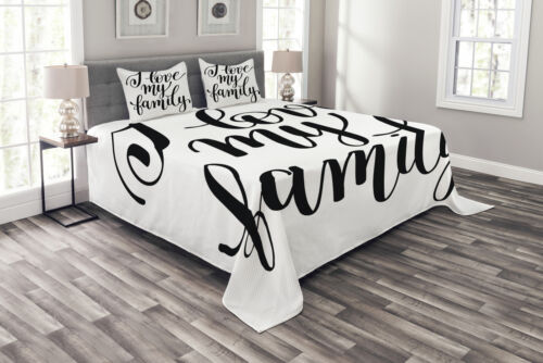 Details about  /Quote Quilted Bedspread /& Pillow Shams Set Artistic Family Writing Print