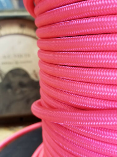Vintage Pulley Pendant Lights Antiques Hot Pink Cloth Covered 3-Wire Round Cord