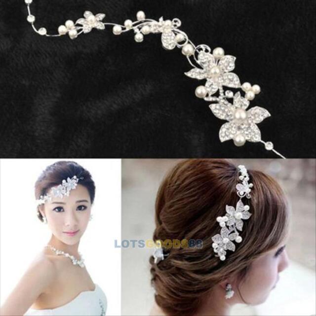 Wedding Party Bridal Crystal Rhinestone Flower Hair Pin Hairpin Clip Headband