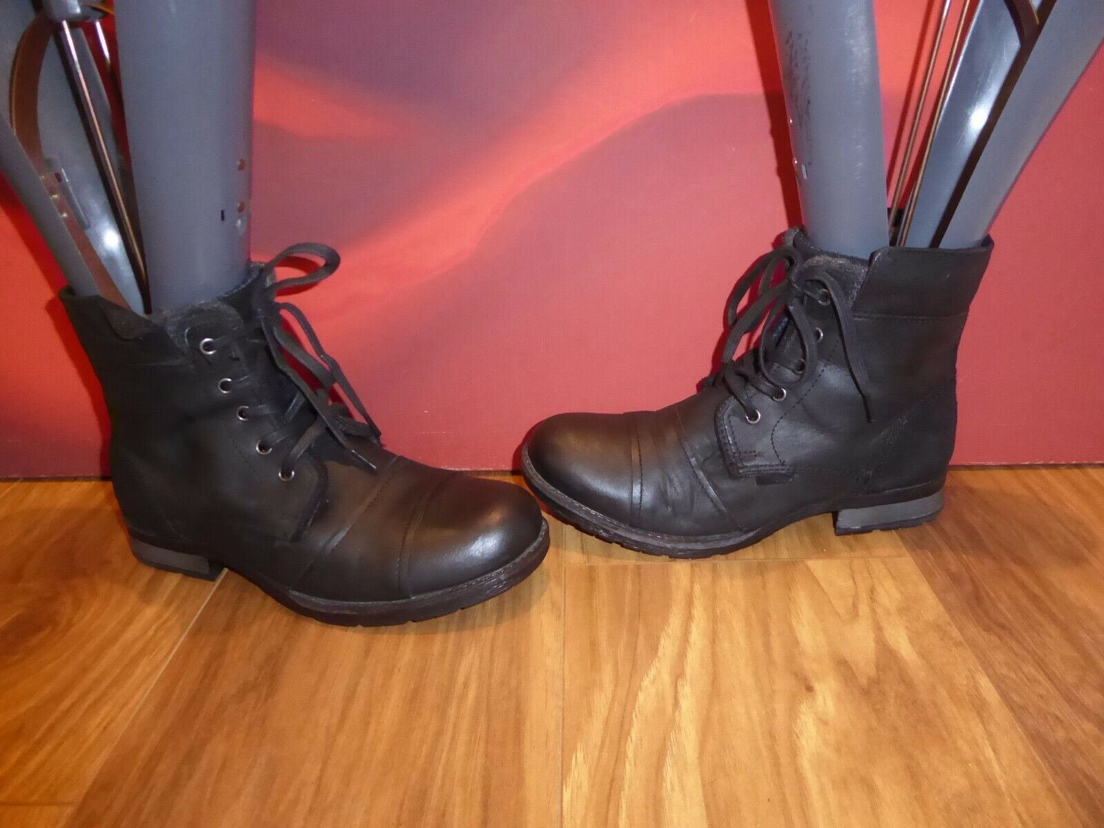 30 RIVER ISLAND black  leather combat style ankle  boots UK 4 EU 37