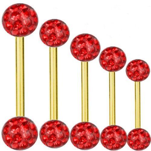 Piercing-vara Titan dorado Barbell 1,6 mm multi bolas de cristal rojo6-40 mm