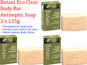 Details about 3 x 125g BOTANI Eco Clear Body Bar Antiseptic Soap ( Body  acne & general )