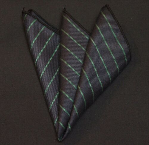Hankie Pocket Square Cotton Handkerchief Dark Blue with Green Stripe CH098