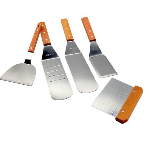 5PC Stainless Steel Spatula Set Assorted Wood Handle BBQ Grill Griddle Bioexcel
