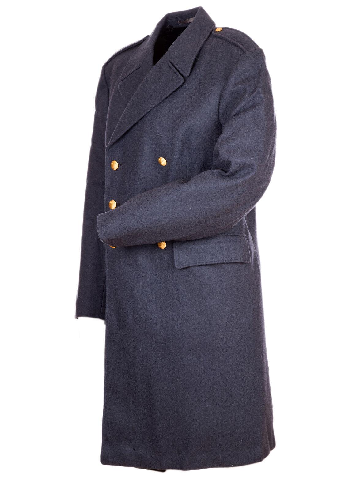 VINTAGE Lana Militare Nordic AIR FORCE Pea petto trench doppio petto Pea cappotto Grande 44