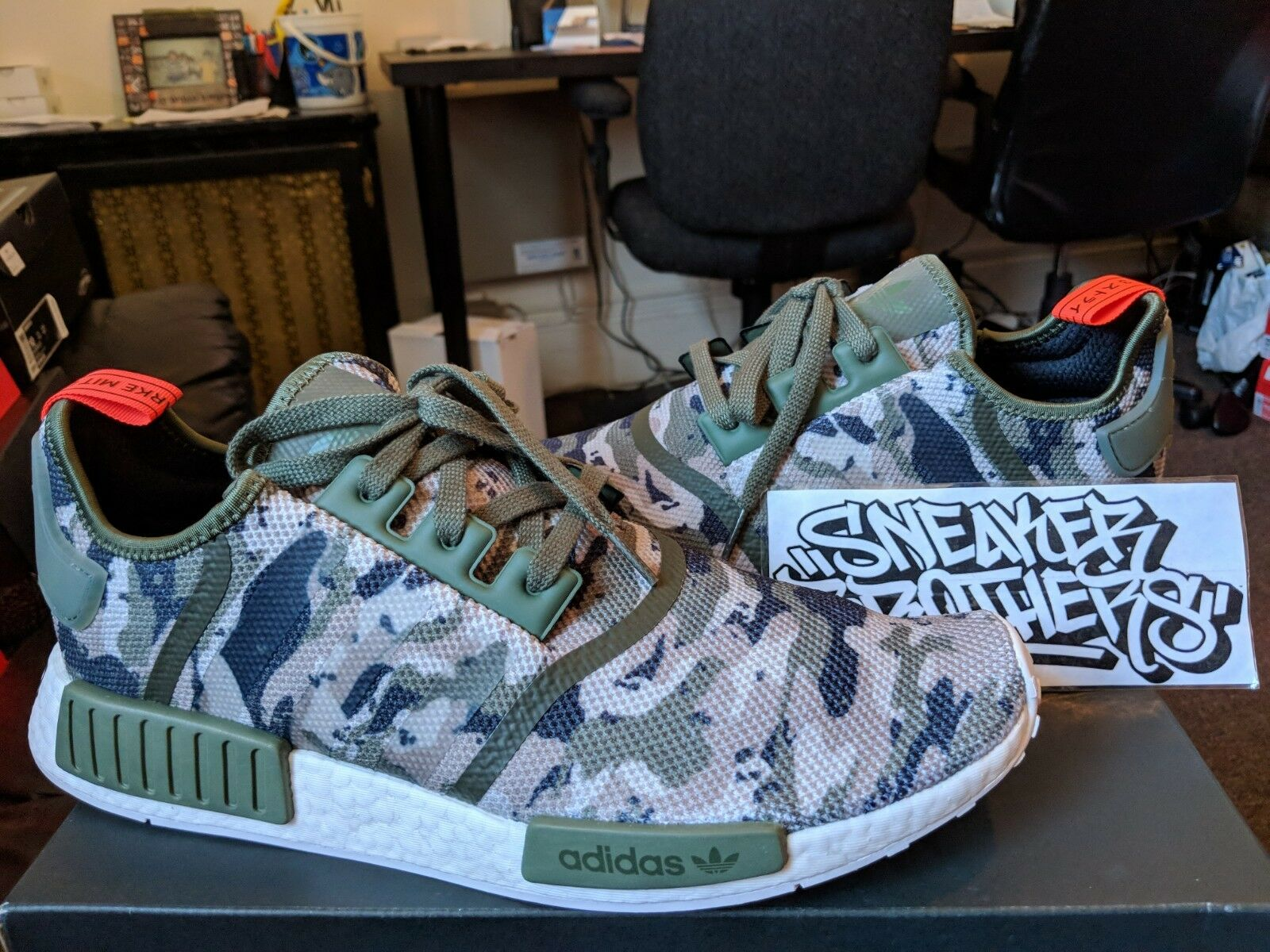 Adidas NMD_R1 Nomad Boost Green Camo orange White Black Running Men's G27914