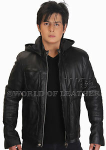 Ghost-Protocol-Mission-Impossible-Black-Men-039-s-Hooded-Movie-Real-Leather-Jacket