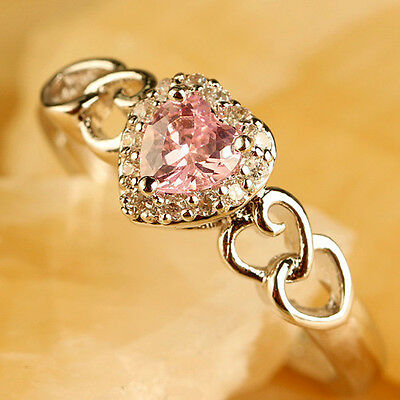 Heart Cut New Fashioned Noble Pink & White Topaz Gems Silver Ring Sz 9 Free Ship