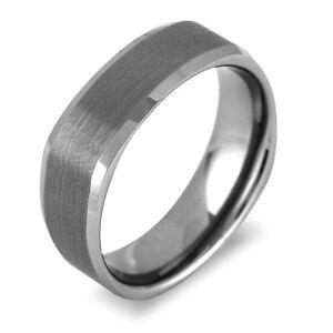 Men39s tungsten 7mm gun metal gray square band high shine for Mens gunmetal wedding rings