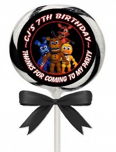 FIVE NIGHTS AT FREDDY/'S BIRTHDAY PERSONALIZED THANK YOU PARTY STICKERS FAVORS