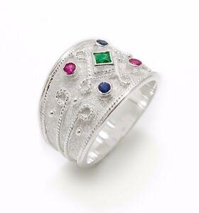 Wide-Multistone-Sterling-Silver-Ring-Statement-Ruby-Emerald-Sapphire-Byzantine