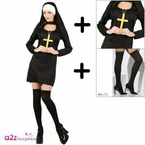 aabb1152cc6 Details about Sexy Nun COSTUME + PULL-UPS Womens Adult Halloween Hen  Religion Fancy Dress